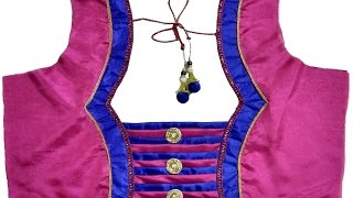getlinkyoutube.com-Designer Bridal Back Neck Blouse Pattern - 1 (DIY)