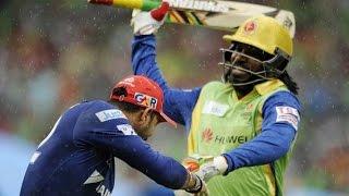 getlinkyoutube.com-Oh No! Chris Gayle Hits Yuvraj Singh With His Bat ?