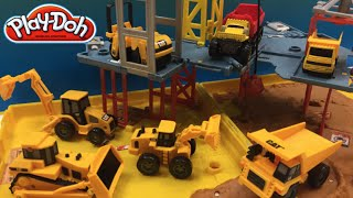 getlinkyoutube.com-PlayDoh fun with Matchbox Mini Mighty Machines Excavators Bulldozer at Folding Construction Job Site