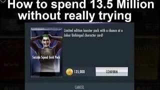 getlinkyoutube.com-Injustice Mobile: Suicide Squad gold pack opening x 100