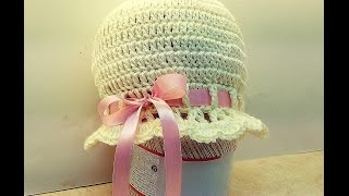 "Learn How To Crochet Girls ""Pink Satin & Pearl Cloche"" sizes 1-10 years TUTORIAL #376"