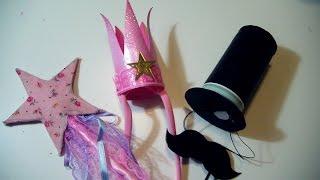 getlinkyoutube.com-Tutorial Carnevale FAI DA TE: Coroncina Principessa + Bacchetta Magica/ Cappello a Cilindro + Baffi