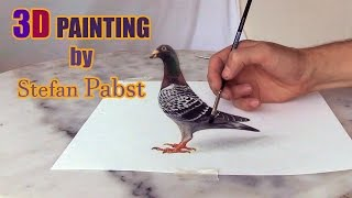Pigeon DRAWING in 3D !! Optical Illusion | by Stefan Pabst