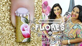 getlinkyoutube.com-Unhas Decoradas Passo a Passo com Flores para Natal  (nail art tutorial) | Cola na Villar