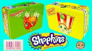 getlinkyoutube.com-Shopkins Lunch Box Tins with Collector Cards & 2 Surprise Blind Bags - Cookieswirlc