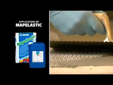 Видео - Mapelastic (Мапеластик) – двухкомпонентный эластичный состав на цементной основе для гидроизоляции.