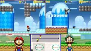 getlinkyoutube.com-NSMB: Mario Vs Luigi split screen    Vs my sister