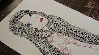 getlinkyoutube.com-zentangle - zentangle drawing with pattern - doodle girl