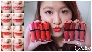 getlinkyoutube.com-♡ 試色 ♡ 妙巴黎 超水感液態唇膏 ♡ Bourjois Rouge Edition Aqua Lipstick ♡ Review & Swatches【Chiao】