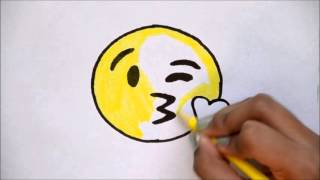 getlinkyoutube.com-How to Draw the Kissing Emoji - For Beginners