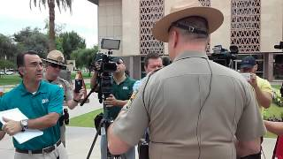Women bust cop lying to the media about police brutality at Arizona Capitol 3/28/16
