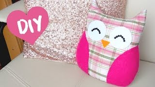getlinkyoutube.com-DIY ROOM DECOR ❤ Easy owl Pillow! (Sew/no sew)