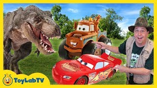 T-REX DINOSAUR CHASE & CARS TOY HUNT! Disney Pixar Cars 3 Lightning McQueen Surprise Toys Kids Truck
