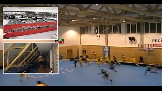 getlinkyoutube.com-Roof falling during floorball game // Pád střechy během florbalového utkání // 14.01.2017