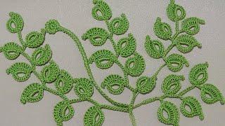 getlinkyoutube.com-Урок вязания крючком. КАК ВЯЗАТЬ ВЕТОЧКУ ЛИСТИКОВ.Ирландское кружево. Irish lace.