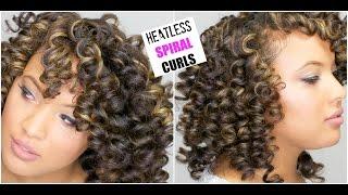 getlinkyoutube.com-The PERFECT SPIRAL Curls on DRY Natural Hair || Heatless Permrod Curls