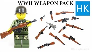 getlinkyoutube.com-Lego WW2 Brickarms Unboxing Knockoffs - Weapons - Minifigure Toy Gun - American