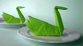 getlinkyoutube.com-Servietten falten Schwan: Origami Tischdeko Basteln mit Papier-Servietten - DIY Deko Hochzeit