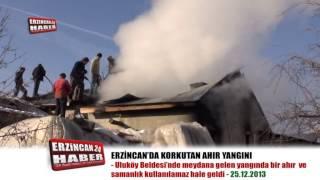 Erzincan'da Korkutan Ahır ve Samanlık Yangını