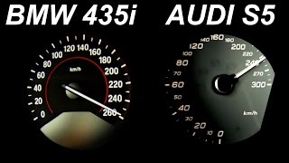 getlinkyoutube.com-Audi S5 vs BMW 435i Review Acceleration Sound Onboard Autobahn 0-250 Test Drive