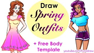 getlinkyoutube.com-Design yourself: cute crop top, pretty dress | How to draw easy!