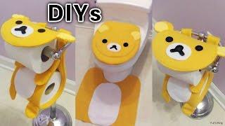 getlinkyoutube.com-3 Cute Bathroom DIYs: DIY Rilakkuma Toilet Seat Cover&Rug + DIY Rilakkuma Toilet Paper Holder