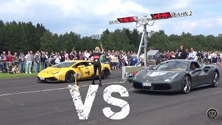getlinkyoutube.com-Ferrari 488 GTB VS Lamborghini Huracán Novitec Torado - DRAG RACE!