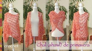 getlinkyoutube.com-Chal (Shawl) o tapado de primavera tejido a crochet