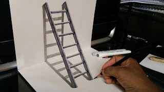 getlinkyoutube.com-How to Draw a 3D Stairs - 3D trick