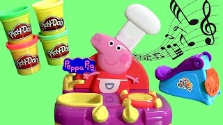 getlinkyoutube.com-Cooking in the Kitchen with Peppa Pig Sing Along Kitchen Set - Learn ABC using Play Doh Fun Factory