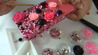 getlinkyoutube.com-DIY Bling Bling Black and Pink Theme iphone4 casing