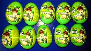 getlinkyoutube.com-10 Surprise Eggs Ben 10 Unwrapping Plastic Eggs (HD)