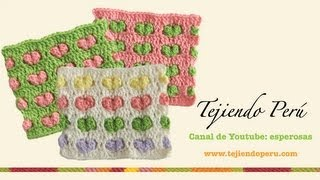 getlinkyoutube.com-Punto con corazones en relieve para tejer a crochet
