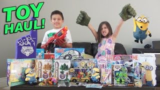 getlinkyoutube.com-SUPER TOY HAUL! Toy Fair SURPRISE BOX from Ourselves! Minions, Avengers, My Little Pony, Nerf!