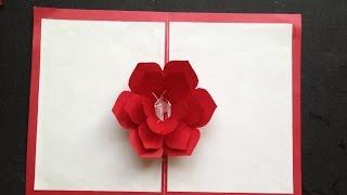 getlinkyoutube.com-Easy To Make A 3D Flower Pop-Up Paper Card Tutorial & Free Pattern
