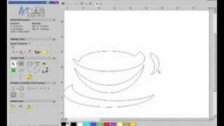 getlinkyoutube.com-ArtCAM Express 2009 - Vector Drawing V-Bit Coffee Design