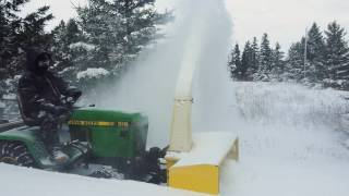 John Deere 318 Blowing Snow. 47-2752M Two Stage Fully Hydraulic Blower