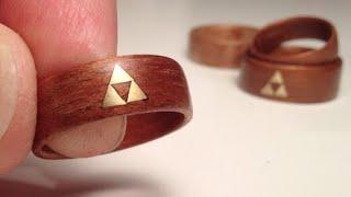 getlinkyoutube.com-How to make Wood Rings - bent veneer w brass Zelda Triforce inlay