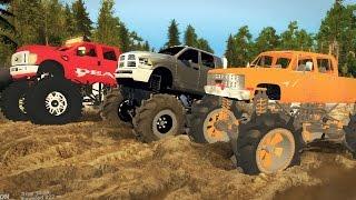 MEGATRUCKS! FORD vs DODGE vs CHEVY! 4x4 Mudding & Off-Roading! (SpinTires)