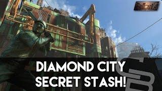 getlinkyoutube.com-Fallout 4 - Diamond City Secret Stash! (Secret Area On Top of Diamond City)