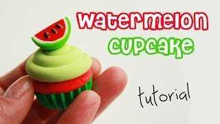 getlinkyoutube.com-polymer clay watermelon cupcake TUTORIAL + GIVEAWAY (closed) ! | cupcakes project part 3