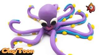 Octopus - Polymer clay tutorial | اخطبوط - تشكيل صلصال للأطفال