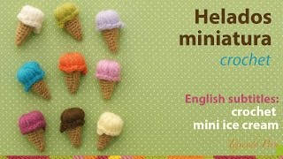 getlinkyoutube.com-Helados miniatura tejidos a crochet / English subtitles: crochet mini ice cream