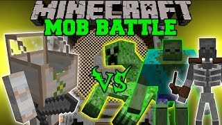 getlinkyoutube.com-MECHA GOLEM VS MUTANT ZOMBIE, MUTANT CREEPER, & MUTANT SKELETON - Minecraft Mob Battles - Mods
