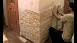 Укладка тонкого камня Zikam Stone в обычной квартире (installation slim artificial stone)