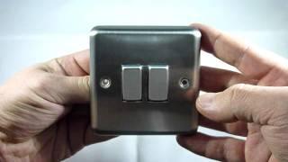 getlinkyoutube.com-Varilight 2 Gang (1 x Int & 1 x 1 or 2 Way) 10A Rocker Matt Chrome Dec Switch XS71D