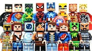 getlinkyoutube.com-New LEGO Minecraft Skin Pack 1 & 2 plus DC & Marvel Super Heroes Minifigures