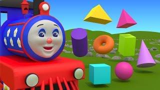getlinkyoutube.com-Shapes for kids children grade 1. Learn 3D shapes (geometric solids) with Choo-Choo Train - part 1