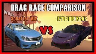getlinkyoutube.com-GTA 5 PS4 - Schafter V12 Sports Vs T20 Supercar Drag Race Comparison | Which is fastest? (GTA V)