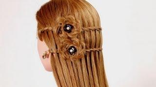 "getlinkyoutube.com-Прическа на каждый день. Плетение ""французский водопад"". Waterfall twist hairstyle"